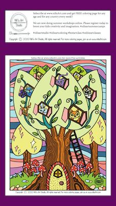 Nili's Art Studio FREE coloring page : Enchanted Animals tree
