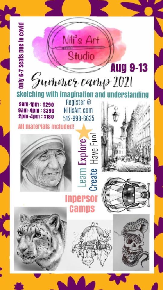 Nili's Art Studio : Sketching Summer Workshop Aug 9-13